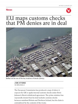 EU maps customs checks that PM denies are in deal