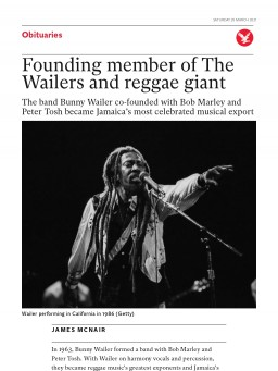 Founding member of The Wailers and reggae giant