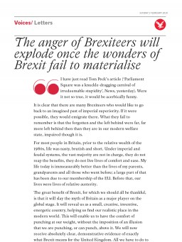 The anger of Brexiteers will explode once the wonders of Brexit fail to materialise