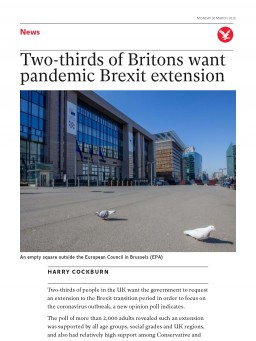Two-thirds of Britons want pandemic Brexit extension